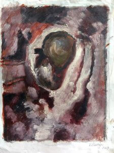 Title: Metastasis Artist: Veronica Huacuja Media: Oil on paper Size: 30 x 42 x 0.1 cm Year: 2003