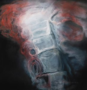 Title: Spine, Study 72 Artist: Veronica Huacuja Year: 2017 Medium: Oil and acrylic on canvas Dimensions: 130 x 130 cm #artjwas, #VeronicaHuacuja, #Bodyart, #bonesart, #aestheticalbeauty, #Human landscape, #medical art, #abnormalbody, #aesthetic transposition