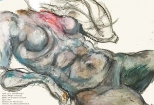 Title: Female Body Study 10  Media: Oil & crayon on paper Year: 2003 Dimensions: 90 x 60 cms veronica.mx @HuacujaVeronica