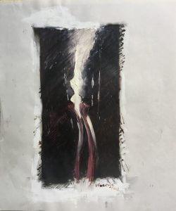 Title: Prosthesis, Study 7 Artist: Veronica Huacuja Medium: Oil and felt tip-pen on paper Size: 35.6 x 43.2 X 0.1 cm Year: 2003 #xraysandart; #VeronicaHuacuja; #Brokenbonesandpaint; #noirpaint; #medicalart; #scienceandart; #artandanatomy; #humanbody; #onlinegallery;#Saatchiart; #Humanlandscape; #artcollector #curator, #saachiart, #exasperatedbeauty, #artonpaper, #prosthesisandart, #captionarthis, #artisticendeavor