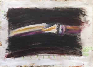 Title: Fracture, Study 6 Artist: Veronica Huacuja Media: Oil & crayon on paper Dimensions: 41 x 30 x 0.1 cm Year: 2003