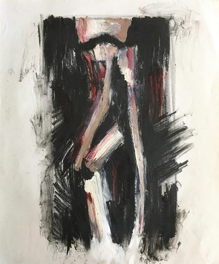 Title: Fracture, Study 5 Artist: Veronica Huacuja Medium: Oil and crayon on paper Size: 42 x 36 cm Year: 2003 #xraysandart; #VeronicaHuacuja; #Brokenbonesandpaint; #noirpaint; #medicalart; #scienceandart; #artandanatomy; #humanbody; #onlinegallery;#Saatchiart; #Human landscape; #artcollector