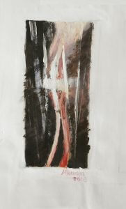 Title: Prosthesis Study 43 Artist: Veronica Huacuja Medium: Oil, acrylic on canvas  Size: 60 x 120 x 4 cm     Year: 2003     The artwork shows the penetration of a prothesis into human flesh.