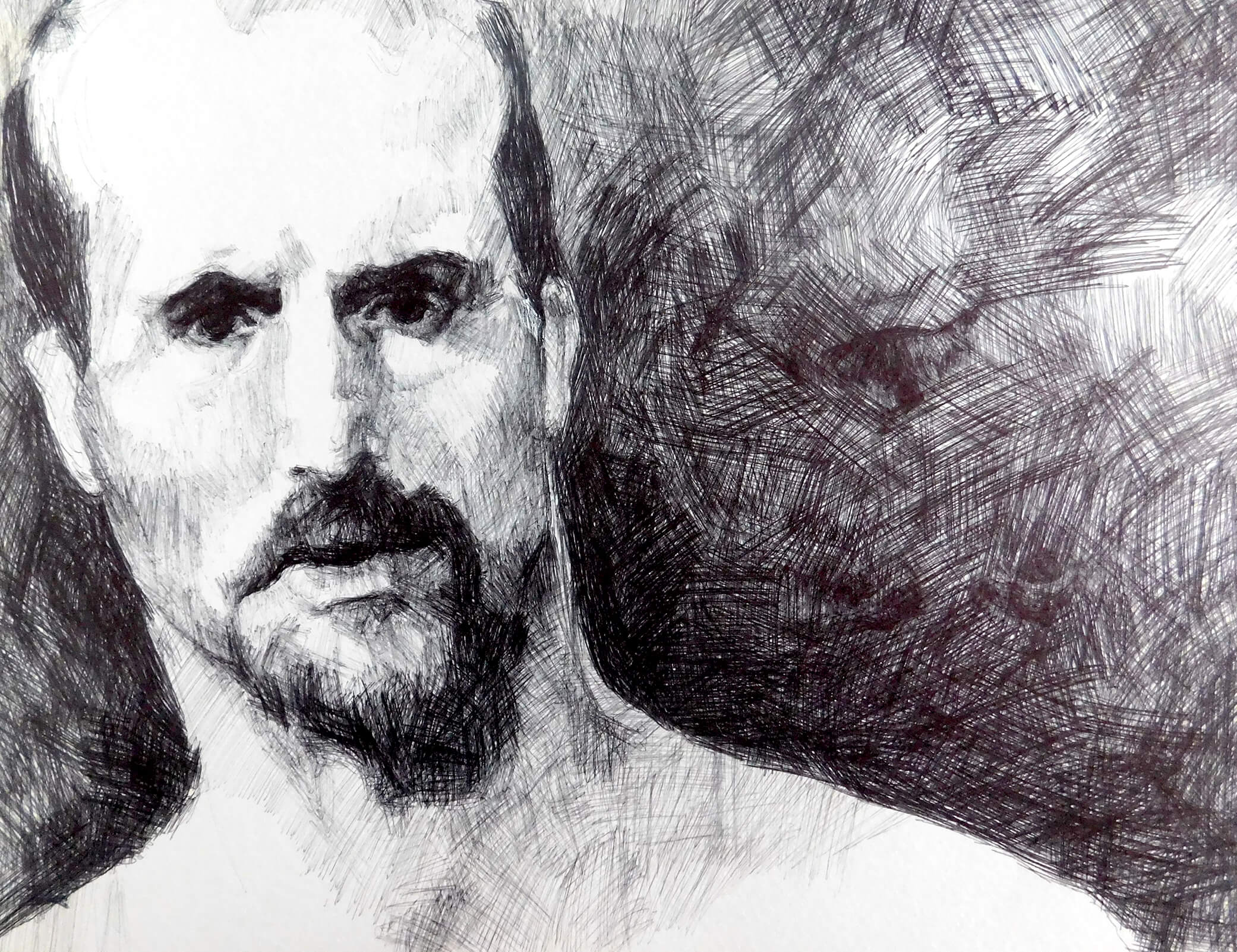 Title: Study based on a photograph of an unknown inmate Media: Ink on paper Size: 24 x 32 x 0.1 cm Year: 2005