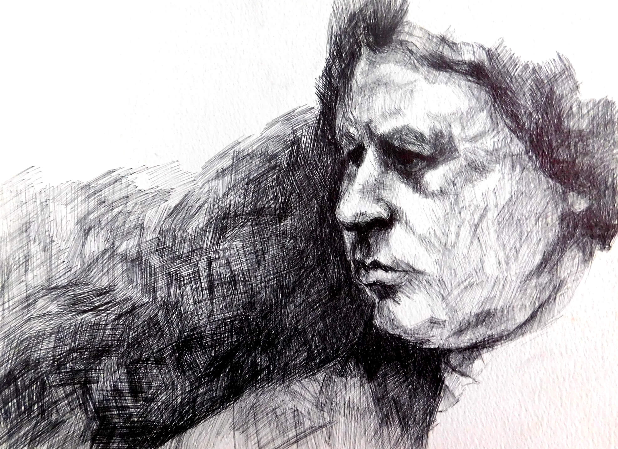 Title: Study of a Portrait 27; Ink on paper; 24 x 32 x 0.1 cm; 2005
