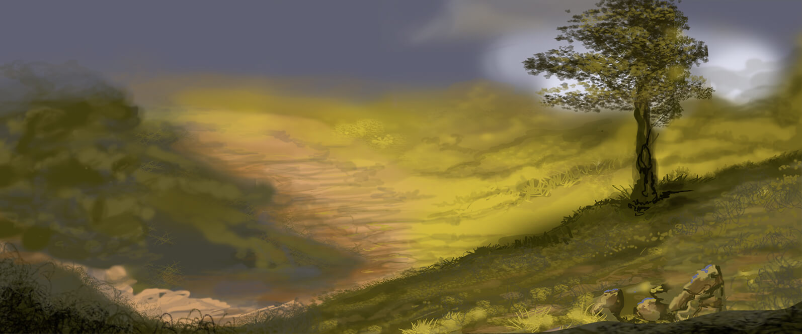 Title: Mountain Scene 10  Digital painting Size: 24 x 32 x 0.1 cm Year: 2018