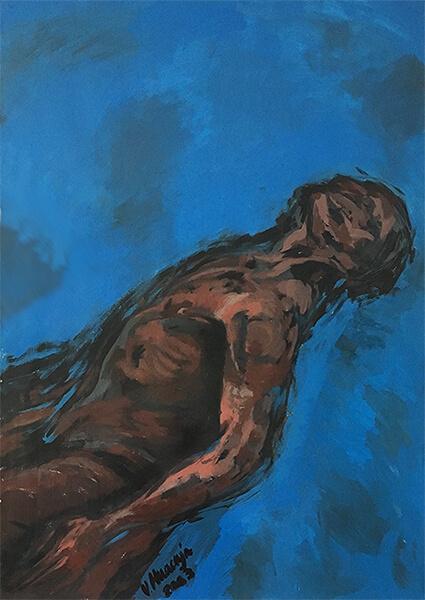 Title: Body Study 9 Media: Acrylic on paper Year: 2003 Size: 100 x 70 x 0.1 cm