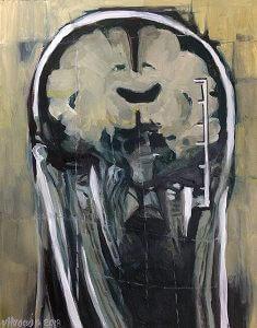 Head Study 58 Oil on paper 42 x 36 x 0.1 cm 2018